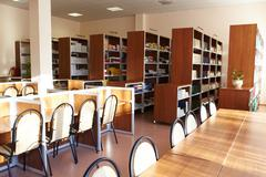 photo of big modern library of college or other educational institution - stock photo