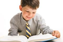 Portrait of diligent schoolboy in casual clothing reading the book Stock Photos