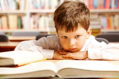 Portrait of a schoolboy sitting at table with books Stock Photos