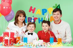 Portrait of family celebrate birthday Stock Photos