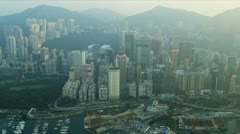 Aerial View Causeway Bay Victoria Harbour Hong Kong Island Stock Footage