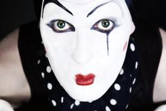 Man mime with blue eyes Stock Photos