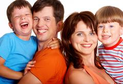 Portrait of cheerful family members having a good time together Stock Photos