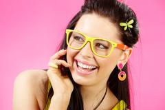 close-up of laughing girl wewaring trendy accessories - stock photo