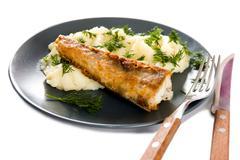 Fried fish and garnish Stock Photos