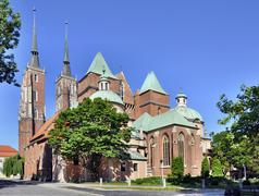 Gothic cathedral in wroclaw, poland Stock Photos