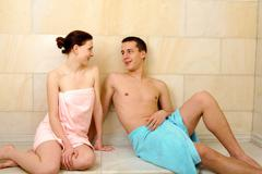 image of happy couple resting after taking bath - stock photo