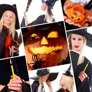 halloween collage with pumpkin, spiders and people in black costumes - stock photo