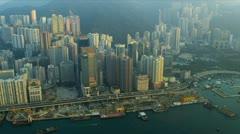 Aerial View Causeway Bay Hong Kong Island Stock Footage