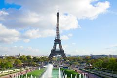 eiffel tour and fountains of trocadero - stock photo