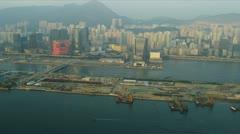 Aerial View of HK Kai Tak Airport Hong Kong - stock footage