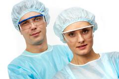 Portraits of two young clinicians Stock Photos