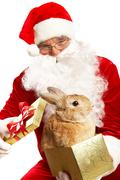 Photo of happy santa claus holding giftbox with cute rabbit Stock Photos