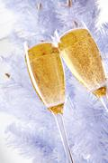 Two champagne flutes with firtree behind Stock Photos