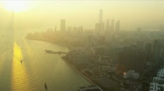Aerial View Tsim Sha Tsui East Kowloon Stock Footage