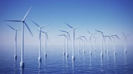 Stock Video Footage of Wind turbines on ocean or sea water sustainable alternative efficient energy .