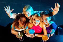 portrait of happy young people toasting in the nightclub - stock photo