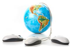 Image of globe with three computer mice on white background Stock Photos