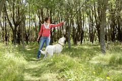 Portrait of woman in casual clothes training her dog in the park Stock Photos
