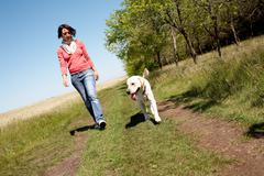 Photo of girl and labrador walking on the road Stock Photos