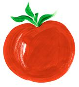 painting of big red tomato over white background - stock illustration