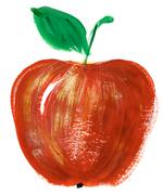 painting of big red apple over white background - stock illustration