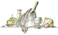 painting of served table in restaurant over white background - stock illustration