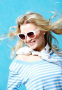 Portrait of stylish woman wearing sunglasses and clothes Stock Photos