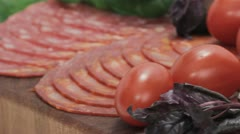 Vegetables, meat, cheese, and tomato juice Stock Footage