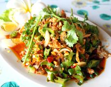 winged bean salad, food of thailand - stock photo