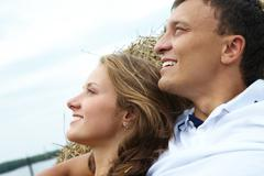 photo of amorous couple on vacation - stock photo