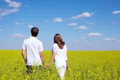 Back view of amorous couple walking in yellow meadow at summer Stock Photos
