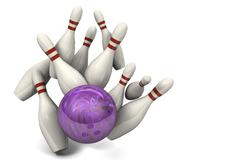 Bowling ball hitting pins Stock Illustration