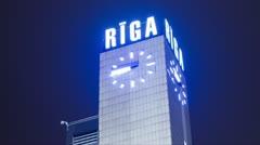 Riga Railway station clock tower timelapse 10 bit - stock footage