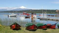 Lake front view of Villarica, Chile Stock Footage