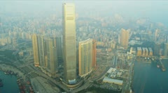 Aerial View International Commerce Centre, Kowloon - stock footage