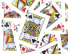 Jack, queen, king playing cards background Stock Photos