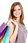 happy female after shopping smiling at camera - stock photo