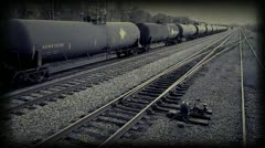 Vintage Film Montage / newsreel of an abandoned train / railroad yard Stock Footage