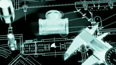 Blueprint and plumbing items Stock Footage