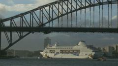 Huge P & O under Sydney harbour bridge (speeded up) 2 Stock Footage