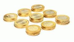 Rotating golden coin stacks. Loop Stock Footage
