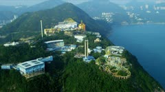 Aerial View of Ocean Park Hong Kong Theme Park Stock Footage