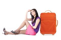 Image of young woman thinking about vacation Stock Photos