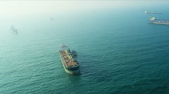 Aerial View Commercial Tankers nr Hong Kong Stock Footage