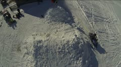 Skier Corked Extreme Flip Filmed From Helicopter. Stock Footage