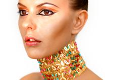 gorgeous woman looking like egyptian czarina - stock photo