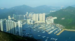 Aerial View Aberdeen Channel and marina, Hong Kong Stock Footage