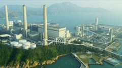 Aerial View Lamma Power Station, Hong Kong Stock Footage