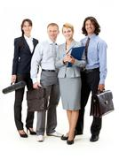 Stock Photo of portrait of friendly business team posing in front of camera